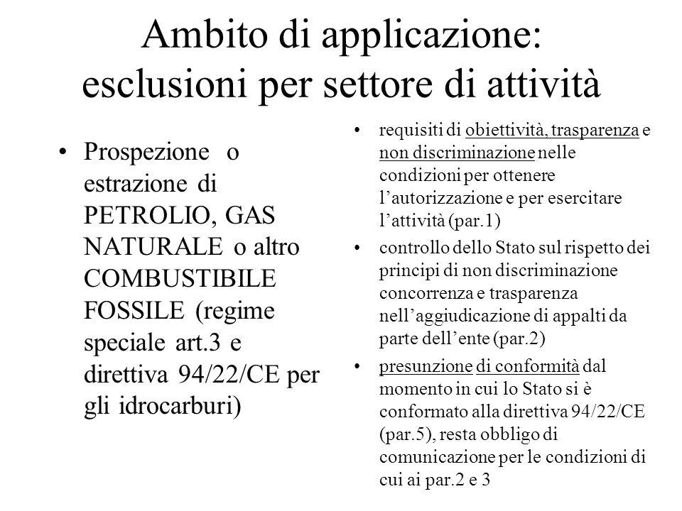 Ambito di applicazione: esclusioni per settore di attività Prospezione o estrazione di PETROLIO, GAS NATURALE o altro COMBUSTIBILE FOSSILE (regime spe