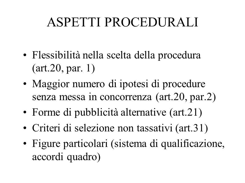 ASPETTI PROCEDURALI Flessibilità nella scelta della procedura (art.20, par. 1) Maggior numero di ipotesi di procedure senza messa in concorrenza (art.