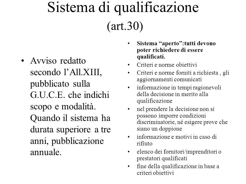 Sistema di qualificazione (art.30) Avviso redatto secondo l'All.XIII, pubblicato sulla G.U.C.E. che indichi scopo e modalità. Quando il sistema ha dur