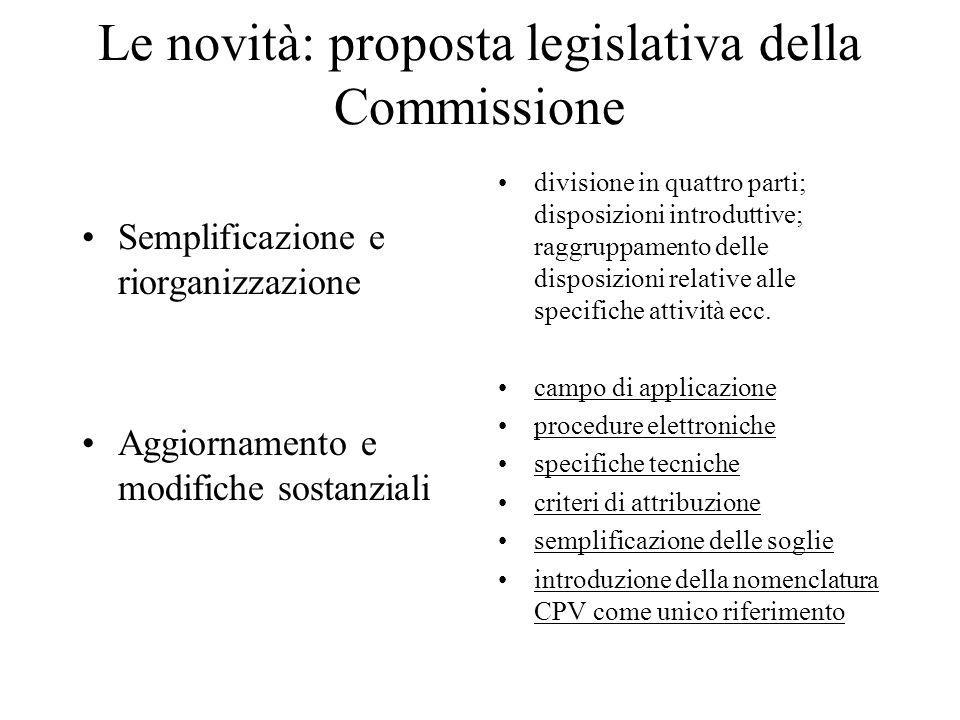 Le novità: proposta legislativa della Commissione Semplificazione e riorganizzazione Aggiornamento e modifiche sostanziali divisione in quattro parti;
