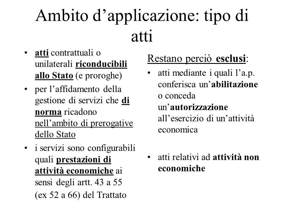 Ambito d'applicazione: tipo di atti atti contrattuali o unilaterali riconducibili allo Stato (e proroghe) per l'affidamento della gestione di servizi