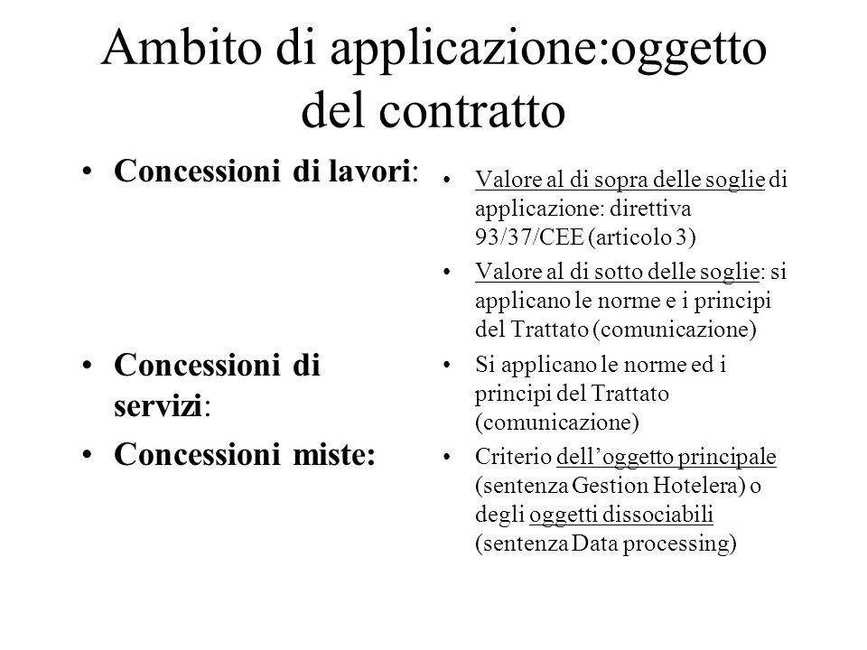 Ambito di applicazione:oggetto del contratto Concessioni di lavori: Concessioni di servizi: Concessioni miste: Valore al di sopra delle soglie di appl