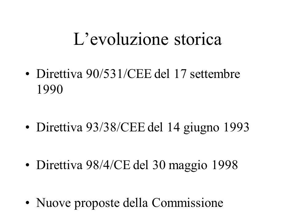 L'evoluzione storica Direttiva 90/531/CEE del 17 settembre 1990 Direttiva 93/38/CEE del 14 giugno 1993 Direttiva 98/4/CE del 30 maggio 1998 Nuove prop