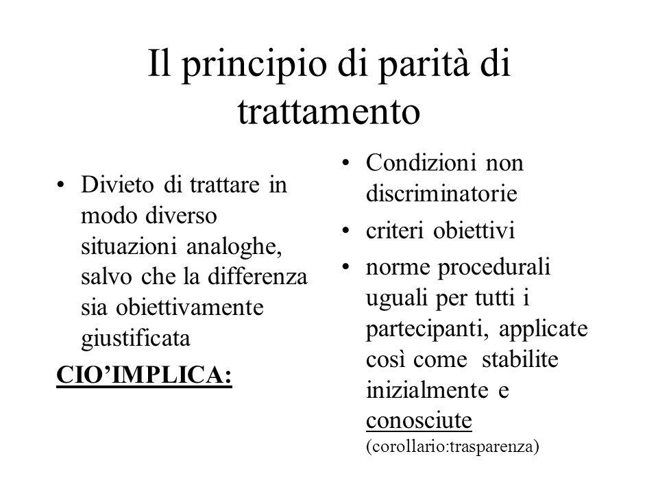 Il principio di parità di trattamento Divieto di trattare in modo diverso situazioni analoghe, salvo che la differenza sia obiettivamente giustificata