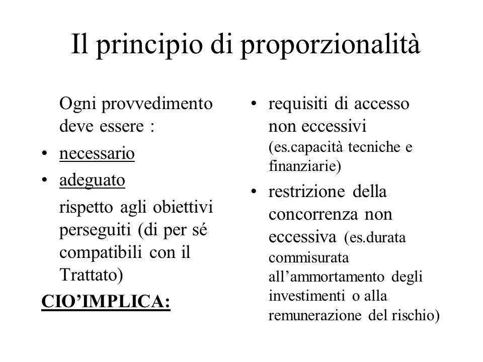 Il principio di proporzionalità Ogni provvedimento deve essere : necessario adeguato rispetto agli obiettivi perseguiti (di per sé compatibili con il