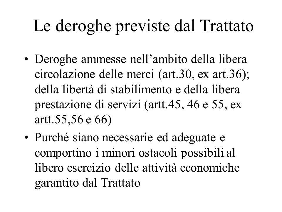 Le deroghe previste dal Trattato Deroghe ammesse nell'ambito della libera circolazione delle merci (art.30, ex art.36); della libertà di stabilimento