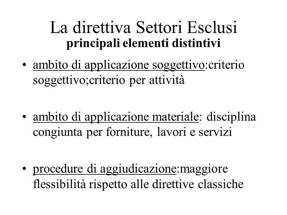 La direttiva Settori Esclusi principali elementi distintivi ambito di applicazione soggettivo:criterio soggettivo;criterio per attività ambito di appl