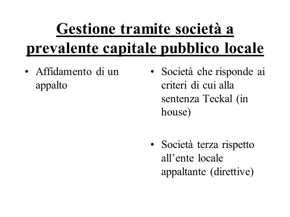 Gestione tramite società a prevalente capitale pubblico locale Affidamento di un appalto Società che risponde ai criteri di cui alla sentenza Teckal (