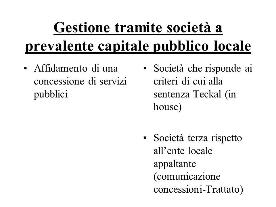 Gestione tramite società a prevalente capitale pubblico locale Affidamento di una concessione di servizi pubblici Società che risponde ai criteri di c