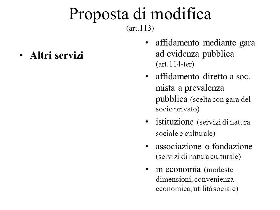 Proposta di modifica (art.113) Altri servizi affidamento mediante gara ad evidenza pubblica (art.114-ter) affidamento diretto a soc. mista a prevalenz