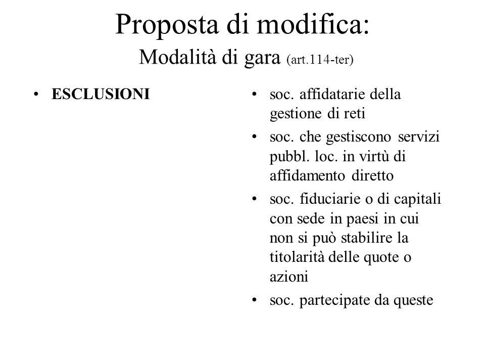 Proposta di modifica: Modalità di gara (art.114-ter) ESCLUSIONIsoc. affidatarie della gestione di reti soc. che gestiscono servizi pubbl. loc. in virt