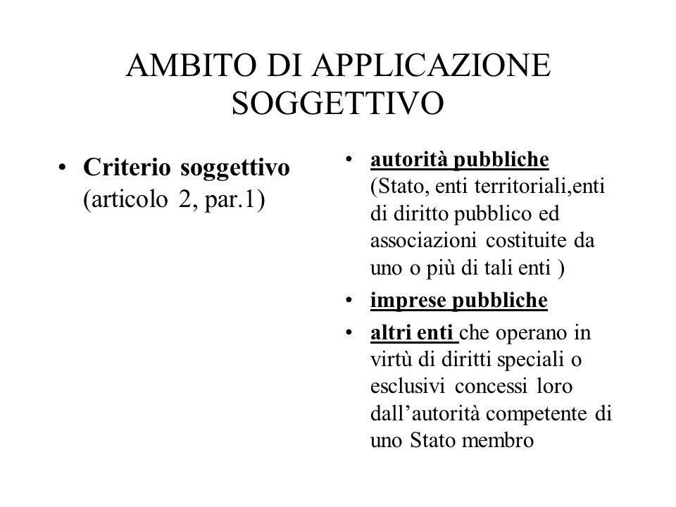 AMBITO DI APPLICAZIONE SOGGETTIVO Criterio soggettivo (articolo 2, par.1) autorità pubbliche (Stato, enti territoriali,enti di diritto pubblico ed ass