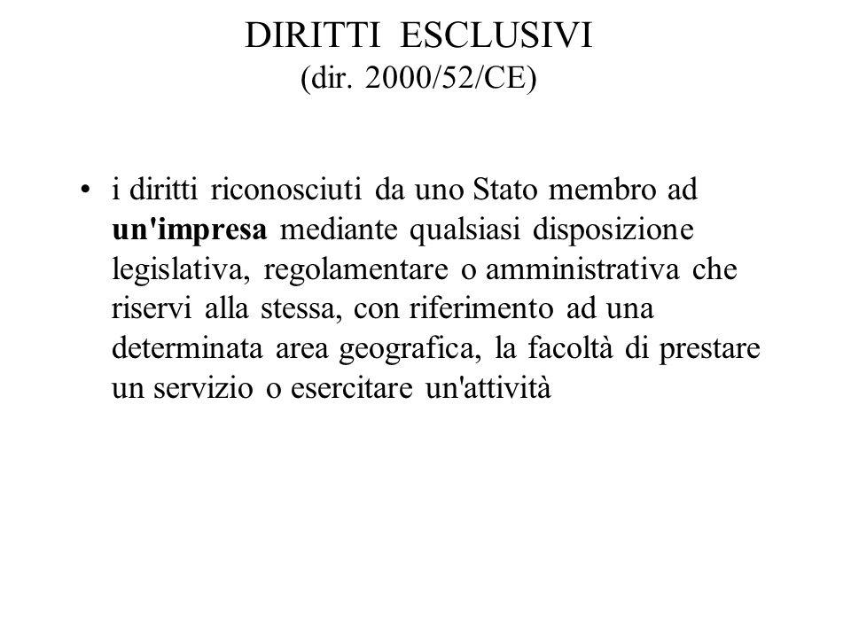 DIRITTI ESCLUSIVI (dir. 2000/52/CE) i diritti riconosciuti da uno Stato membro ad un'impresa mediante qualsiasi disposizione legislativa, regolamentar