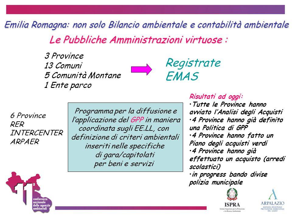 Emilia Romagna: non solo Bilancio ambientale e contabilità ambientale Le Pubbliche Amministrazioni virtuose : Le Pubbliche Amministrazioni virtuose :