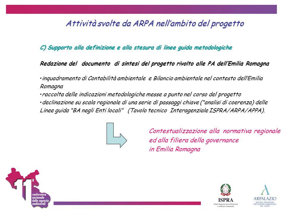 Attività svolte da ARPA nell'ambito del progetto C) Supporto alla definizione e alla stesura di linee guida metodologiche Redazione del documento di s