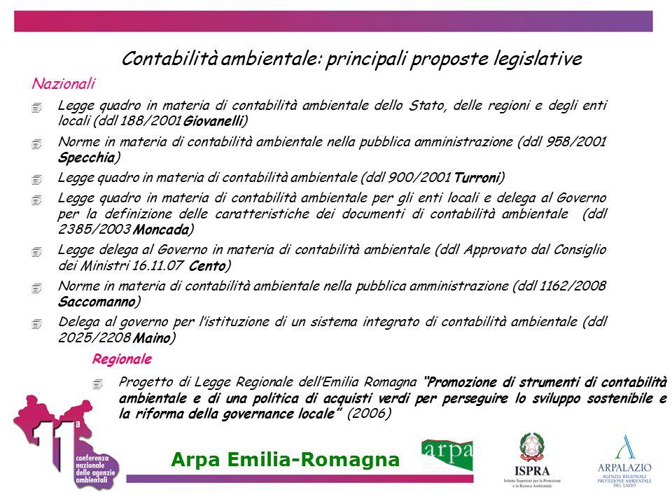 Contabilità ambientale: principali proposte legislative Nazionali  Legge quadro in materia di contabilità ambientale dello Stato, delle regioni e deg