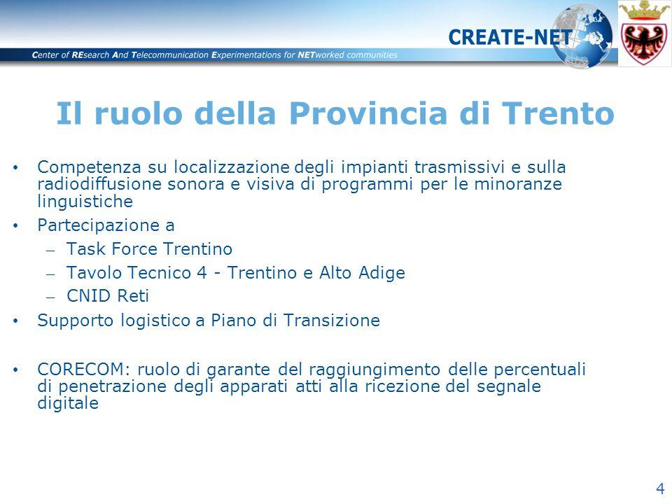 4 Il ruolo della Provincia di Trento Competenza su localizzazione degli impianti trasmissivi e sulla radiodiffusione sonora e visiva di programmi per