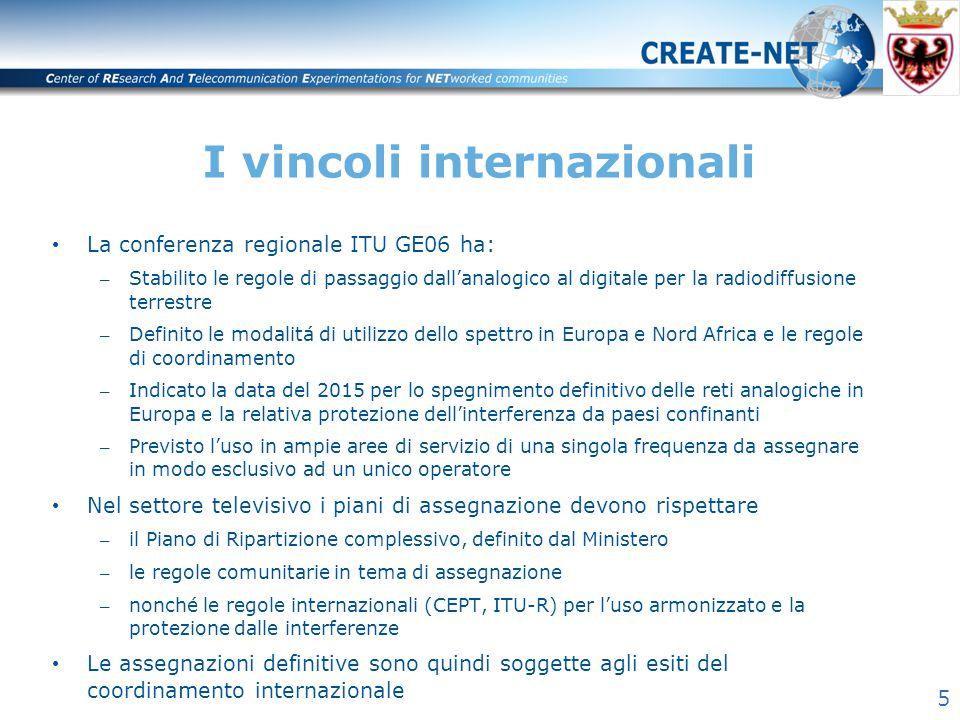 5 I vincoli internazionali La conferenza regionale ITU GE06 ha: – Stabilito le regole di passaggio dall'analogico al digitale per la radiodiffusione t