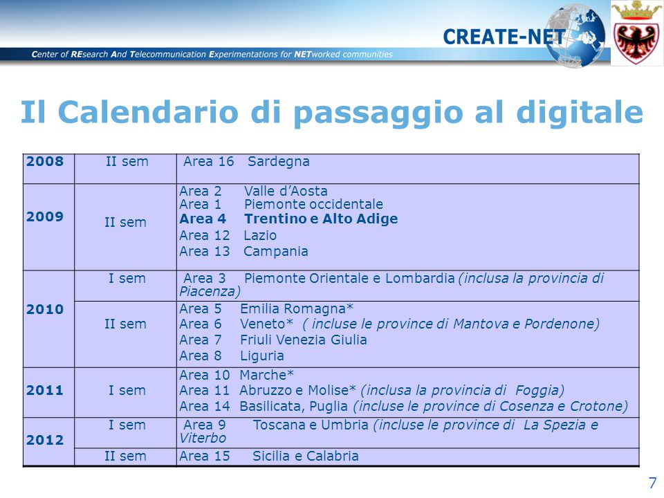 8 Grazie per l'attenzione! www.create-net.org Building the global networked society of the future
