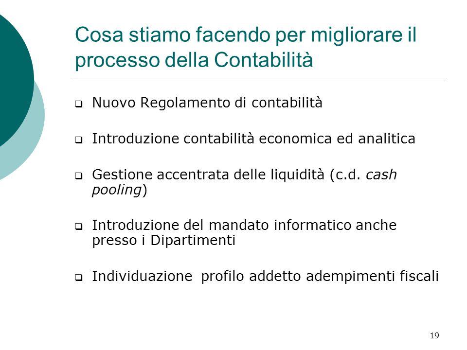 19  Nuovo Regolamento di contabilità  Introduzione contabilità economica ed analitica  Gestione accentrata delle liquidità (c.d.