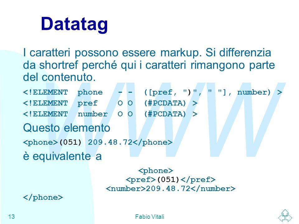 WWW Fabio Vitali13 Datatag I caratteri possono essere markup. Si differenzia da shortref perché qui i caratteri rimangono parte del contenuto. Questo