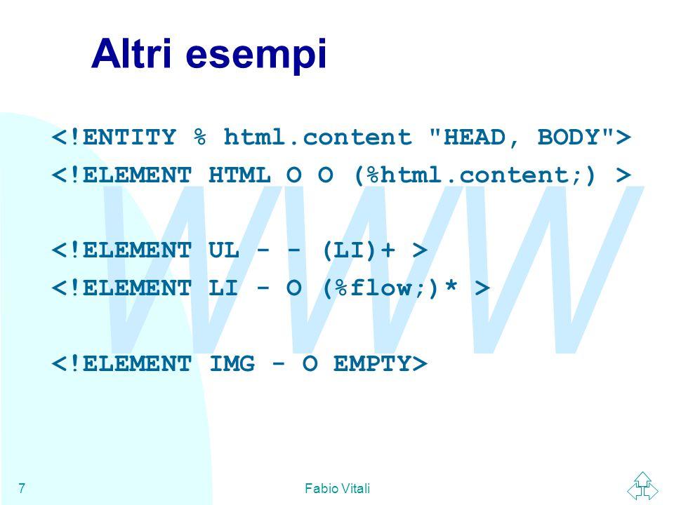 WWW Fabio Vitali18 Inclusioni In SGML è possibile specificare anche delle eccezioni al content model utilizzando le dichiarazioni di inclusione ed esclusione.