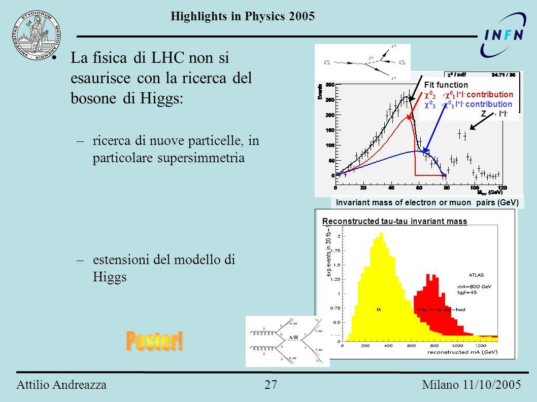 Highlights in Physics 2005 Attilio Andreazza 26 Milano 11/10/2005 Ma LHC non è solo Higgs... Combinando i vari canali di ricerca, in un anno di presa