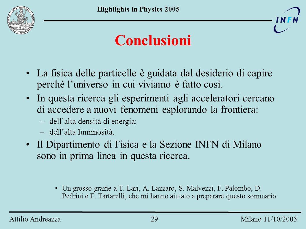 Highlights in Physics 2005 Attilio Andreazza 28 Milano 11/10/2005 ATLAS esiste! Il montaggio del rivelatore procede a pieno ritmo al CERN. Installate