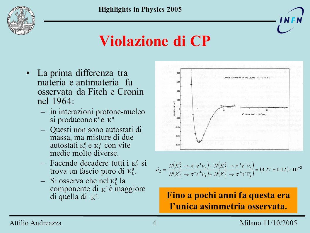 Highlights in Physics 2005 Attilio Andreazza 4 Milano 11/10/2005 Violazione di CP La prima differenza tra materia e antimateria fu osservata da Fitch e Cronin nel 1964: –in interazioni protone-nucleo si producono e.