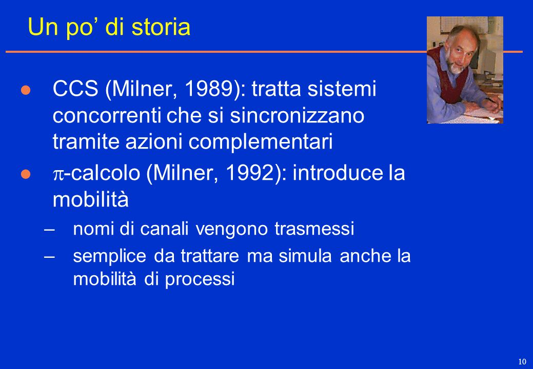 10 Un po' di storia CCS (Milner, 1989): tratta sistemi concorrenti che si sincronizzano tramite azioni complementari  -calcolo (Milner, 1992): introd
