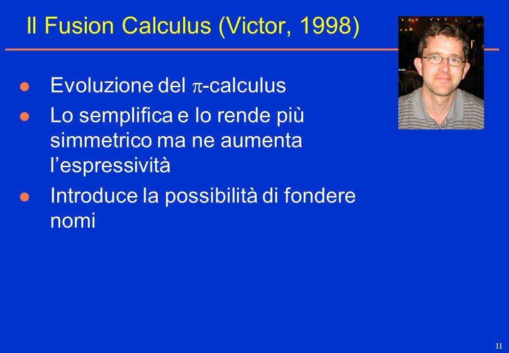 11 Il Fusion Calculus (Victor, 1998) Evoluzione del  -calculus Lo semplifica e lo rende più simmetrico ma ne aumenta l'espressività Introduce la poss