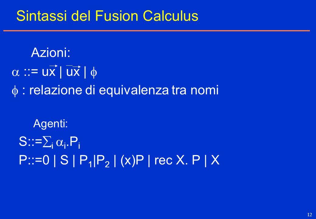 12 Sintassi del Fusion Calculus Azioni:  ::= ux | ux |   : relazione di equivalenza tra nomi Agenti: S::=  i  i.P i P::=0 | S | P 1 |P 2 | (x)P |