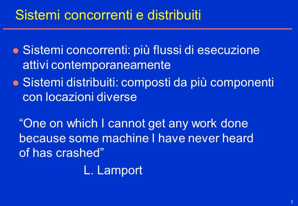 3 Sistemi concorrenti e distribuiti Sistemi concorrenti: più flussi di esecuzione attivi contemporaneamente Sistemi distribuiti: composti da più compo