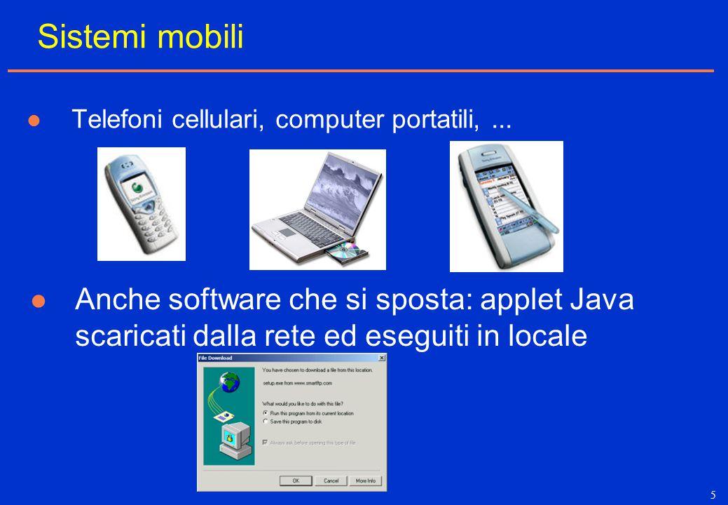 5 Sistemi mobili Telefoni cellulari, computer portatili,... Anche software che si sposta: applet Java scaricati dalla rete ed eseguiti in locale