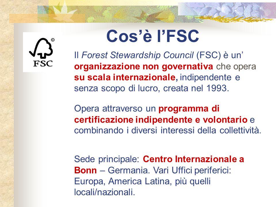 Cos'è l'FSC Il Forest Stewardship Council (FSC) è un' organizzazione non governativa che opera su scala internazionale, indipendente e senza scopo di