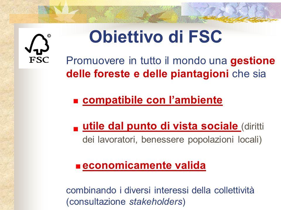 Obiettivo di FSC Promuovere in tutto il mondo una gestione delle foreste e delle piantagioni che sia compatibile con l'ambiente utile dal punto di vis