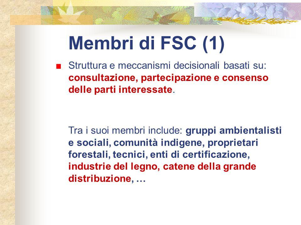 Membri di FSC (1) Tra i suoi membri include: gruppi ambientalisti e sociali, comunità indigene, proprietari forestali, tecnici, enti di certificazione
