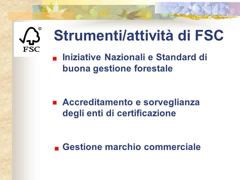 Strumenti/attività di FSC Iniziative Nazionali e Standard di buona gestione forestale Accreditamento e sorveglianza degli enti di certificazione Gesti