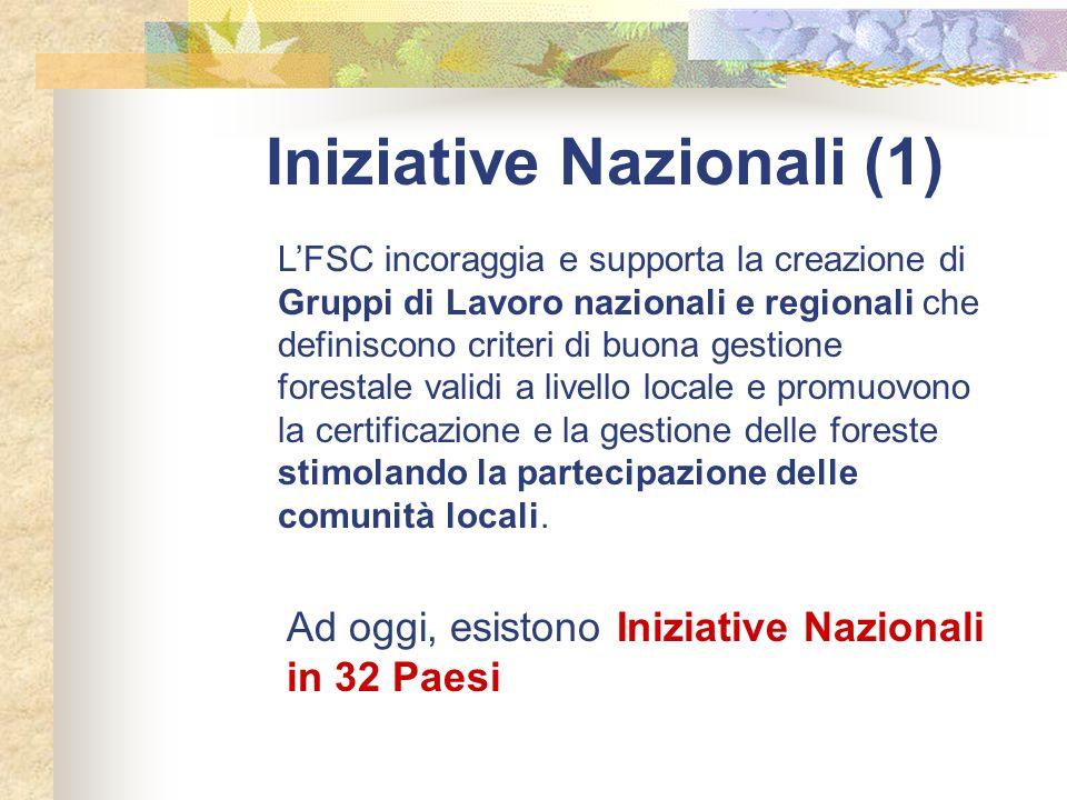 Iniziative Nazionali (1) L'FSC incoraggia e supporta la creazione di Gruppi di Lavoro nazionali e regionali che definiscono criteri di buona gestione