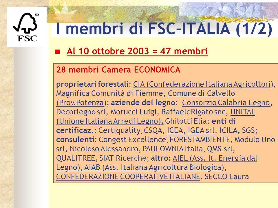 I membri di FSC-ITALIA (1/2) Al 10 ottobre 2003 = 47 membri 28 membri Camera ECONOMICA proprietari forestali: CIA (Confederazione Italiana Agricoltori