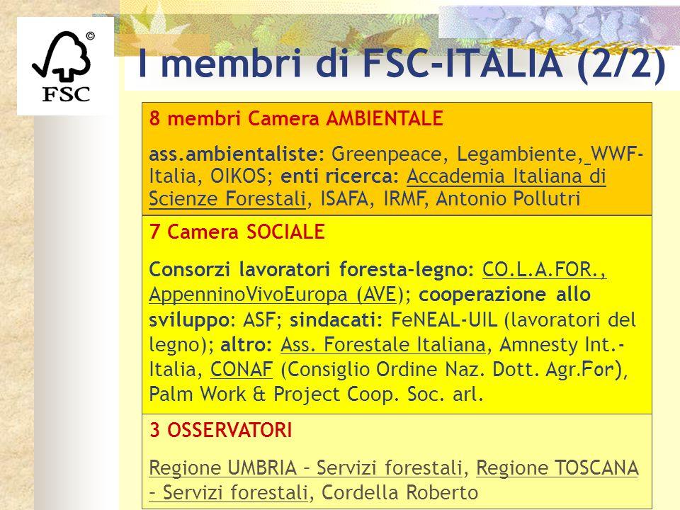 8 membri Camera AMBIENTALE ass.ambientaliste: Greenpeace, Legambiente, WWF- Italia, OIKOS; enti ricerca: Accademia Italiana di Scienze Forestali, ISAF