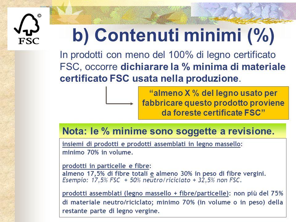 b) Contenuti minimi (%) insiemi di prodotti e prodotti assemblati in legno massello: minimo 70% in volume. prodotti in particelle e fibre: almeno 17,5