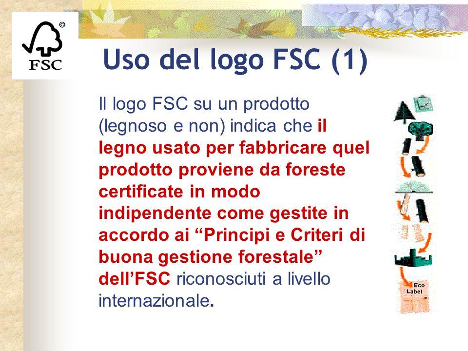 Uso del logo FSC (1) Il logo FSC su un prodotto (legnoso e non) indica che il legno usato per fabbricare quel prodotto proviene da foreste certificate