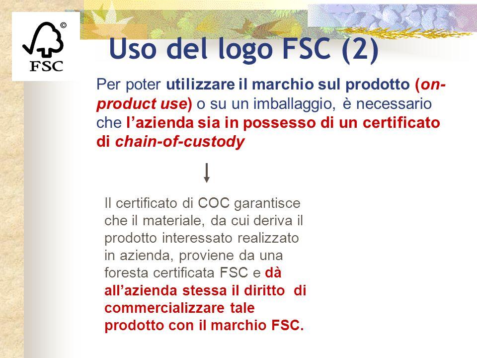 Uso del logo FSC (2) Per poter utilizzare il marchio sul prodotto (on- product use) o su un imballaggio, è necessario che l'azienda sia in possesso di