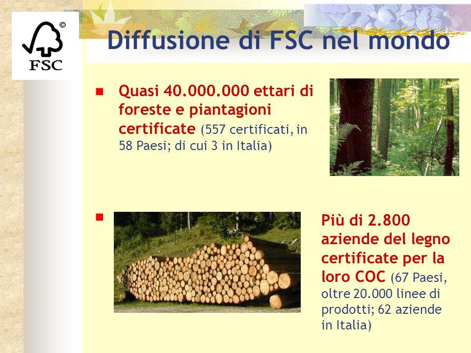 Logo fsc Quasi 40.000.000 ettari di foreste e piantagioni certificate (557 certificati, in 58 Paesi; di cui 3 in Italia) Più di 2.800 aziende del legn