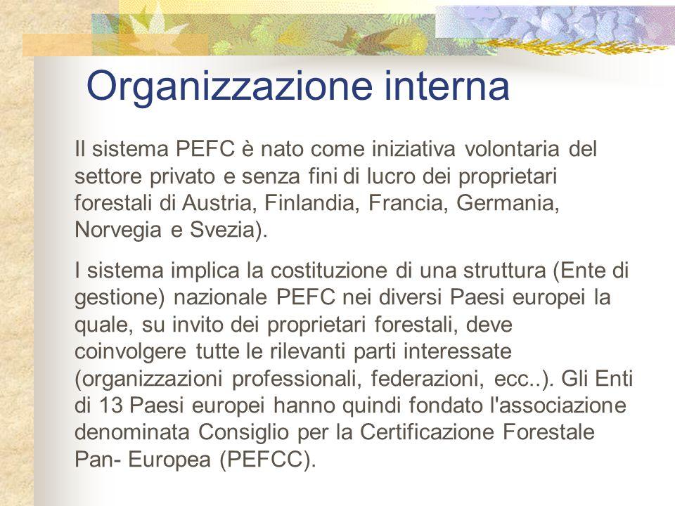 Organizzazione interna Il sistema PEFC è nato come iniziativa volontaria del settore privato e senza fini di lucro dei proprietari forestali di Austri