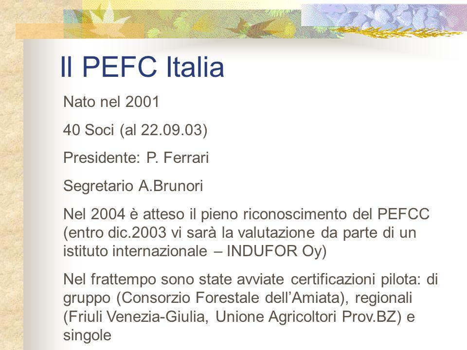 Il PEFC Italia Nato nel 2001 40 Soci (al 22.09.03) Presidente: P. Ferrari Segretario A.Brunori Nel 2004 è atteso il pieno riconoscimento del PEFCC (en