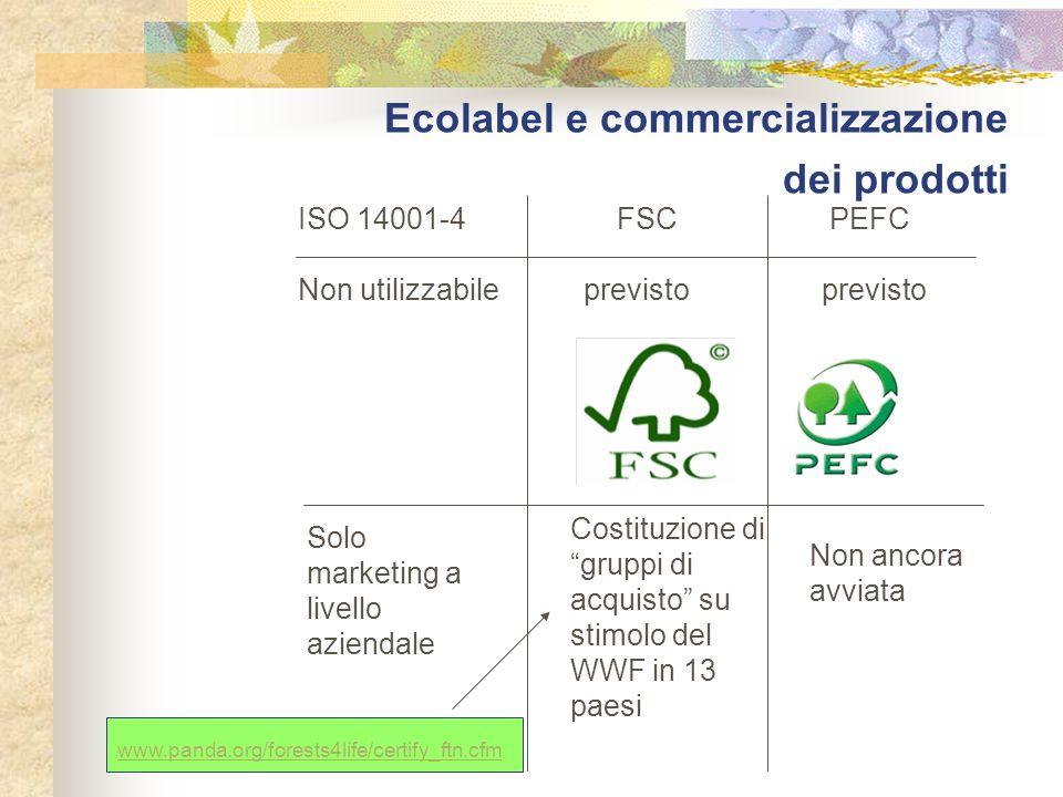 """Ecolabel e commercializzazione dei prodotti ISO 14001-4FSCPEFC Non utilizzabile previsto previsto Solo marketing a livello aziendale Costituzione di """""""