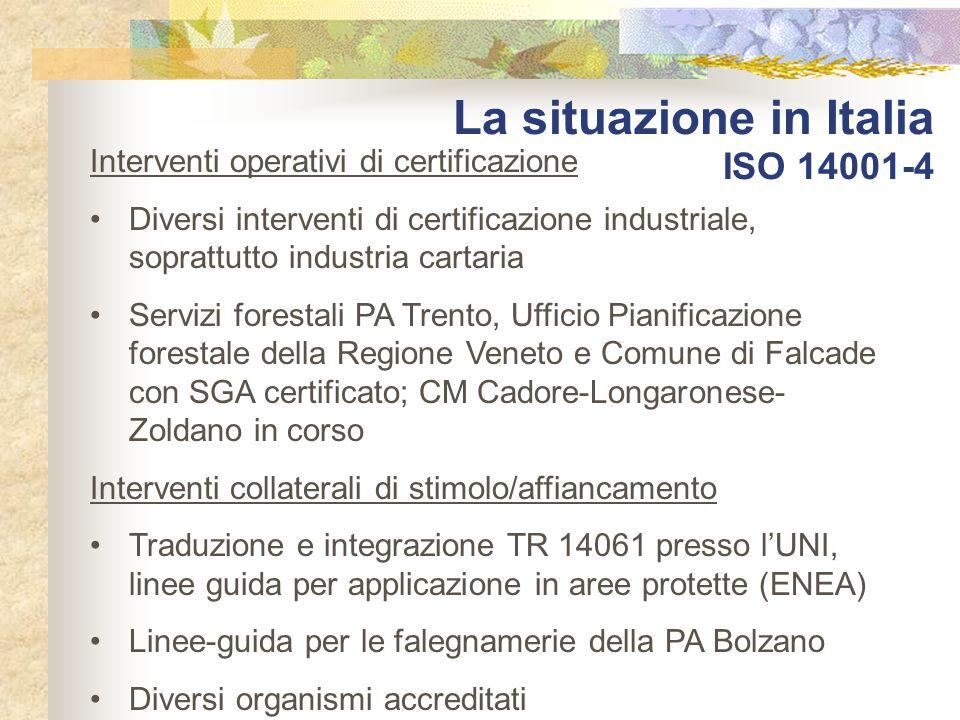 La situazione in Italia ISO 14001-4 Interventi operativi di certificazione Diversi interventi di certificazione industriale, soprattutto industria car
