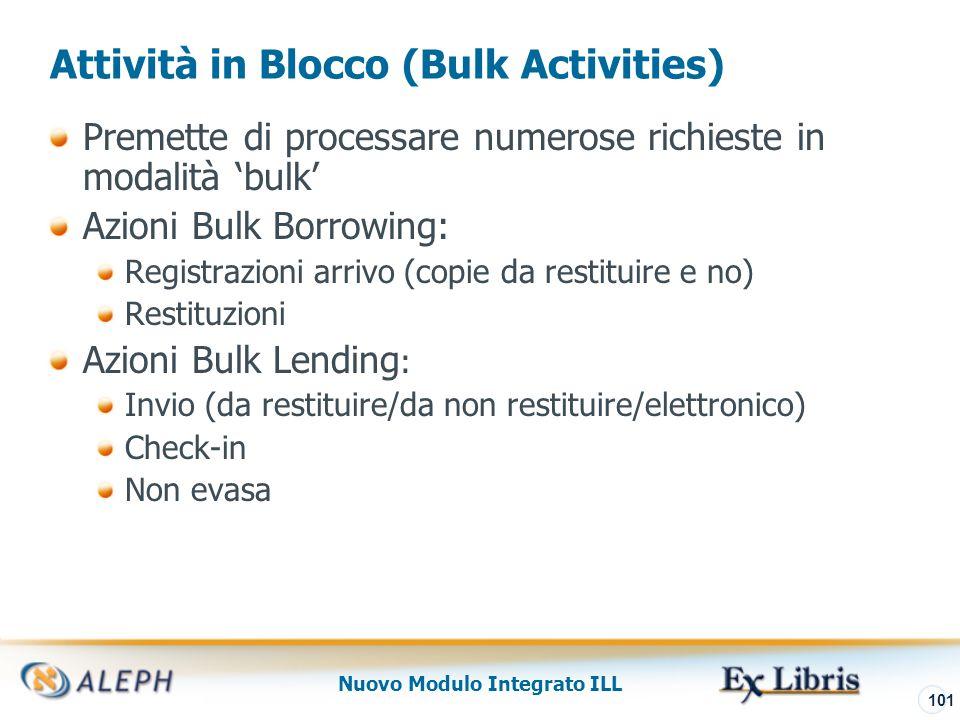 Nuovo Modulo Integrato ILL 102 Bulk Lending – Non Evasa